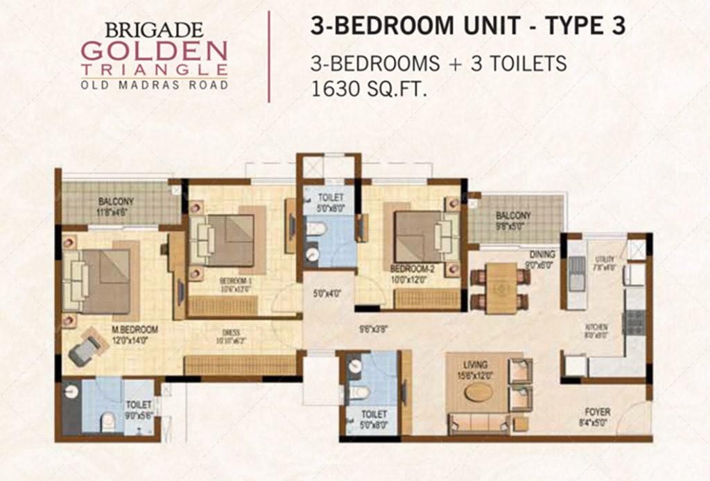 Floor Plan - Brigade Golden Triangle Budigere Cross | 3 BHK Apartment 1630 sft