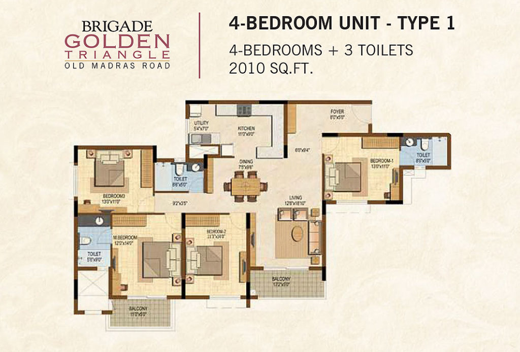 Floor Plan - Brigade Golden Triangle, Budigere Cross | 4 BHK Apartment 2010 sft