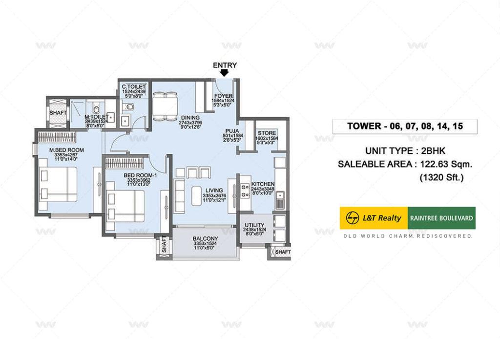 Floor Plan - L&T Raintree Boulevard Hebbal | 2 BHK Apartment 1320 sft