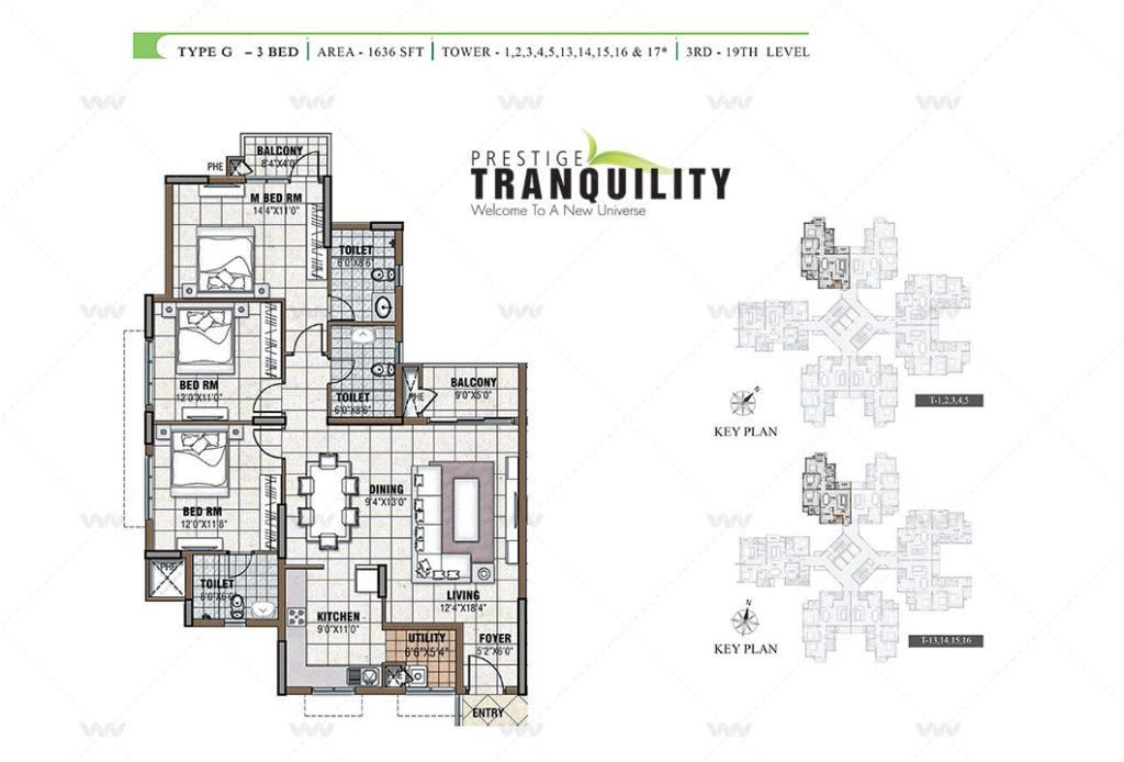 Floor Plan - Prestige Tranquility Budigere Cross   3 BHK Apartment 1636 sft