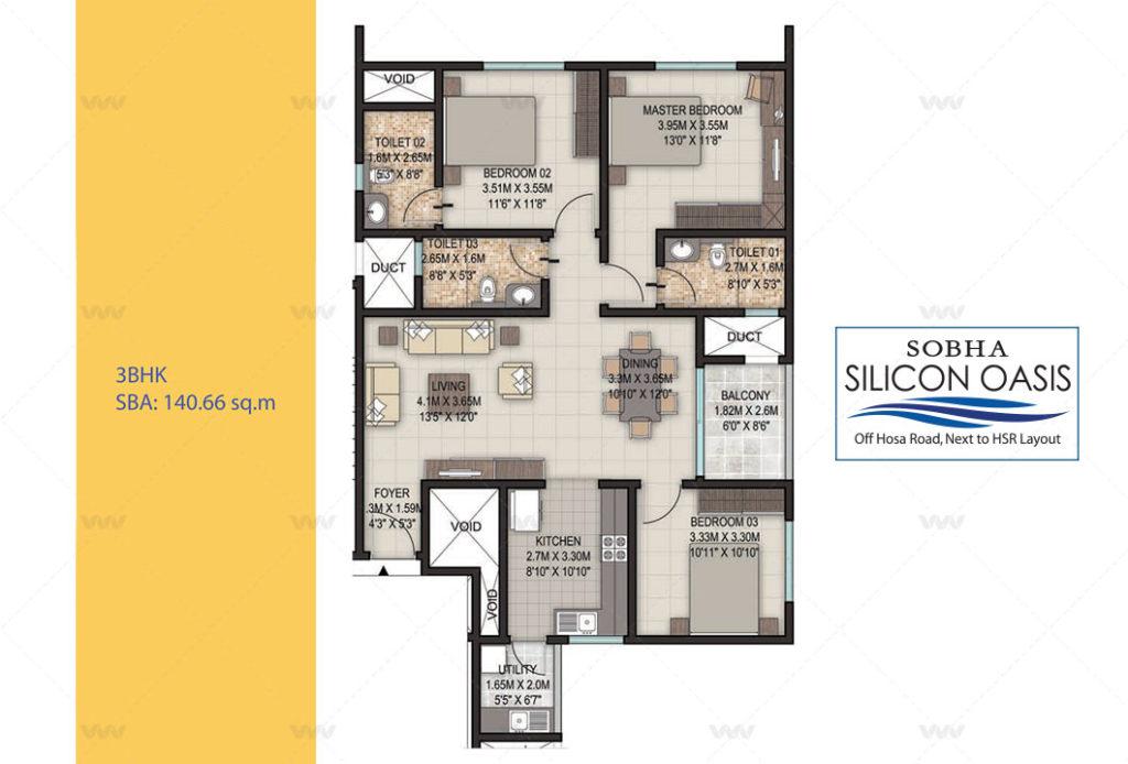 Floor Plan - Sobha Silicon Oasis Off Hosa Road 3 BHK Apartment 1529 sft