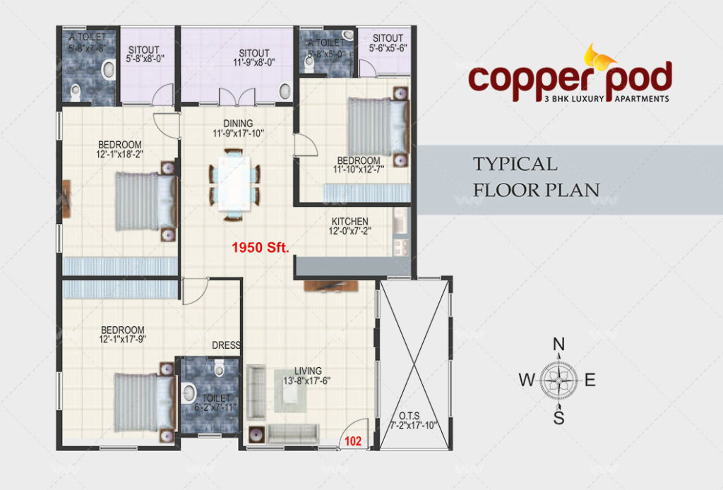 Floor Plan - Copper Pod Harlur Road | 3 BHK Apartment 1950 sft
