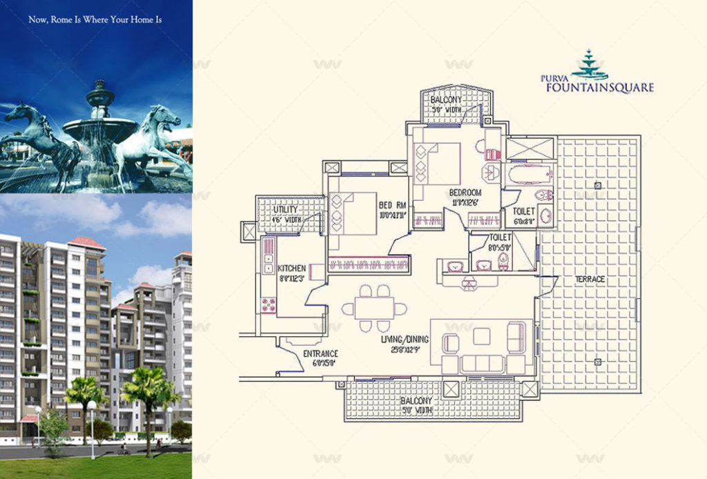 Floor Plan - Purva Fountain Square Marathahalli 2 BHK Apartment 1336 Sft